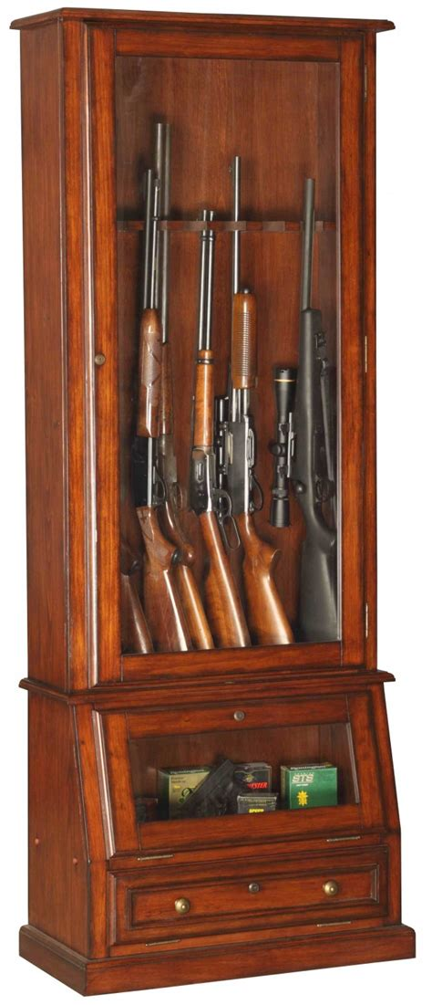 wood and glass gun cabinet 12 gun cabinet wood veneer with locking glass display