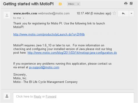 email register getting started with motiopi