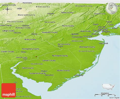 physical map of new jersey physical panoramic map of new jersey