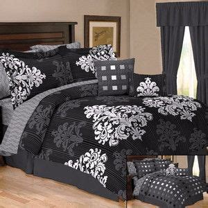 queen black white gray medallion damask bedroom 7 pc 10pc damask toile black white grey comforter bed set queen