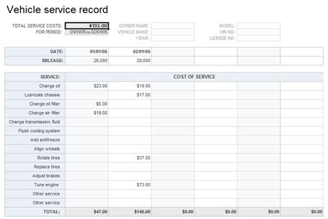 vehicle service record template vehicle service record template free excel templates and
