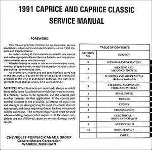 1991 chevy caprice wagon repair shop manual original