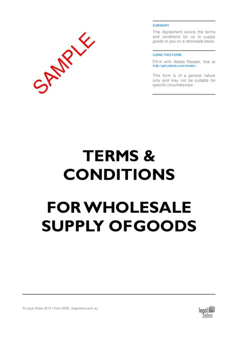 Wholesale Terms And Conditions Template Free Terms Conditions For Wholesale Supply Of Goods Template Sle