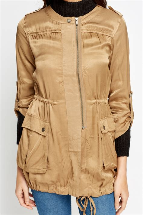 roll up sleeves light jacket bronze just 163 5