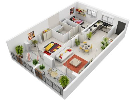 3d apartment 2 bedroom apartment house plans