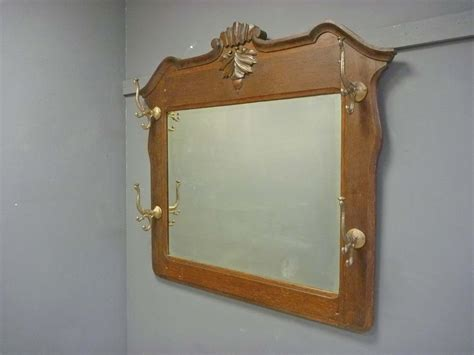 Mirror And Coat Rack by Oak Mirror With Coat Hat Rack From Antiquesonhanover On