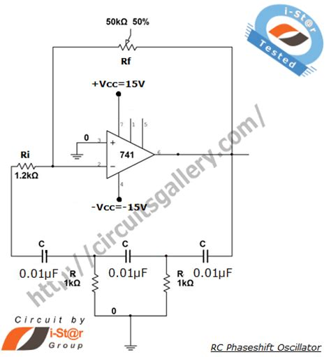rc phase shift oscillator using 741 op design and