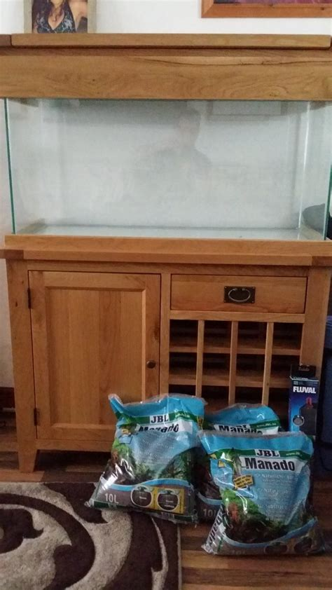 Oak Cabinet Fish Tanks by Solid Oak Aquarium Cabinet With 100cm Aquarium At Aquarist