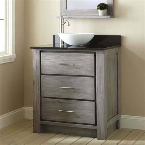 30 quot venica teak vessel sink vanity gray wash bathroom