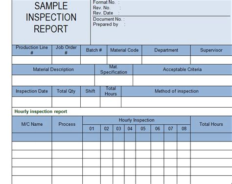 Inspection Report Template get inspection report template sle microsoft project