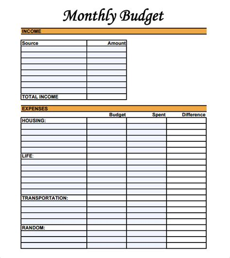 10 Monthly Budget Sles Sle Templates Weekly Budget Template Sheets