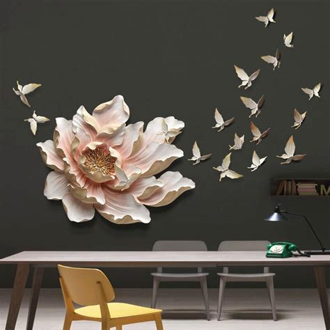 stereo wall hanging resin flowerbutterfly home