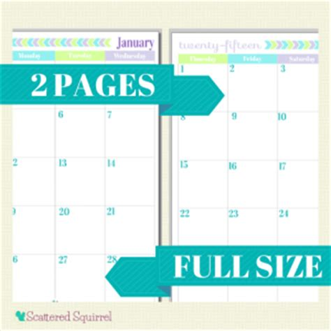 free printable personal planner pages 2015 dated calendars scattered squirrel