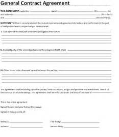 general contract agreement word template template sle