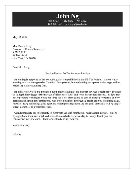 Tax Manager Resume Cover Letter by Tax Manager Cover Letter