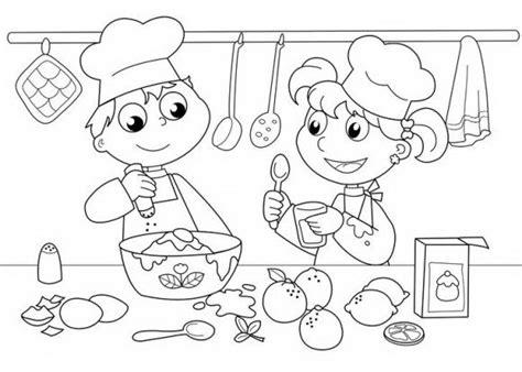 bake cake coloring page ילדים טבחים מבשלים ארוחה