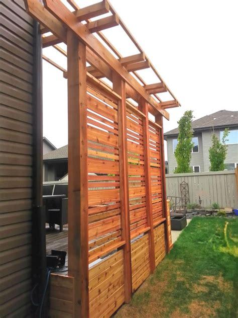cedar planters  privacy screen  pergola craftsman