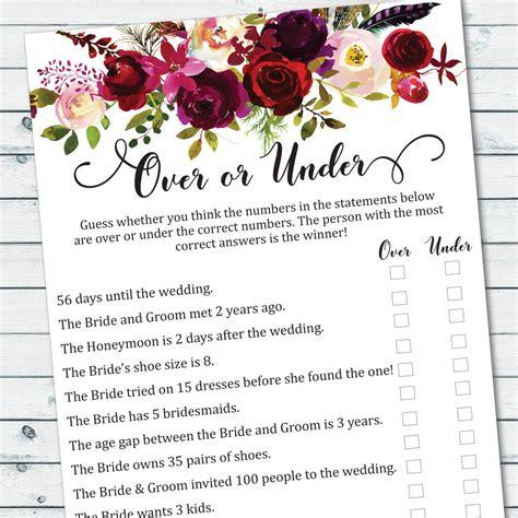 download printable bridal shower games over or under game printable floral bridal shower games