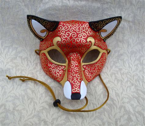 Mask Handmade - venetian fox mask handmade leather mask
