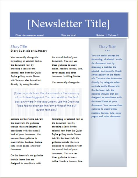 15 Editable Newsletter Templates For Ms Word Document Hub Executive Newsletter Template