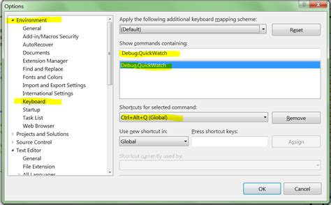 reset visual studio settings command line debugging do we have quick watch in visual studio 2010