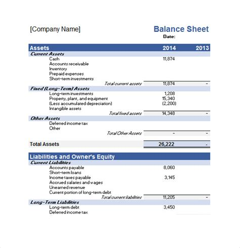 business plan balance sheet template sle financial plan 9 documents in pdf word excel