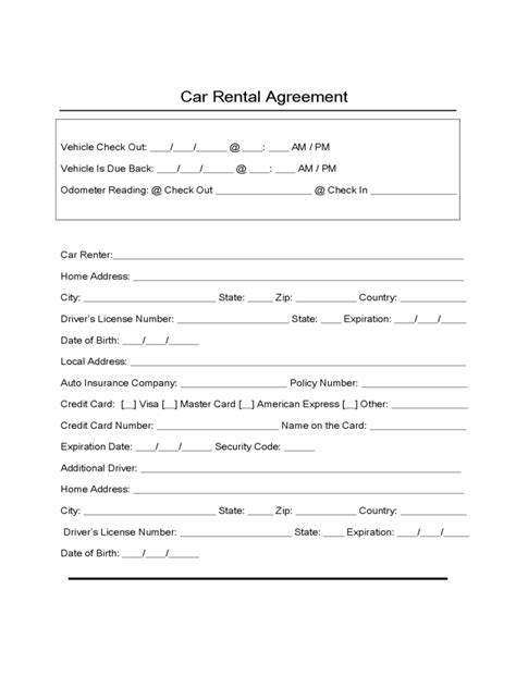 rental car agreement template car lease form 4 free templates in pdf word excel