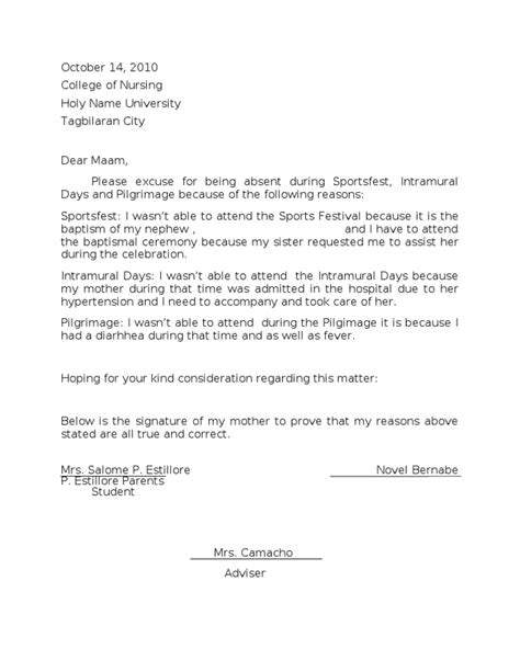 Excuse Letter Consideration Excuse Letter