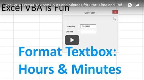 format excel hours and minutes excel vba userform basics 1 excel vba is fun