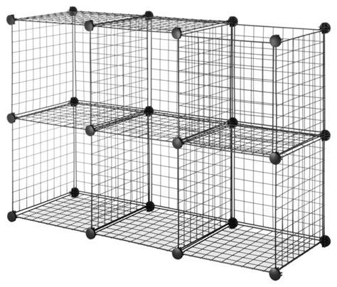 Wire Cube Shelf by Black Steel Wire Storage Cubes Set Of 6