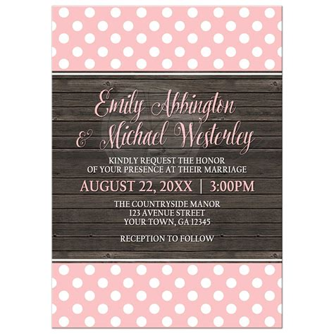 pink polka dot invitations wedding invitations blush pink polka dot rustic wood