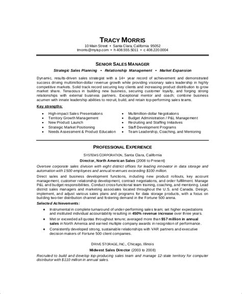 senior management resume sles sle sales manager resume 9 exles in word pdf