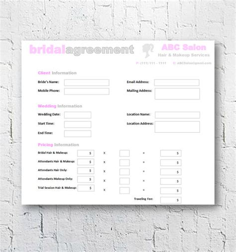 hair and makeup contract template hair stylist makeup artist bridal agreement contract
