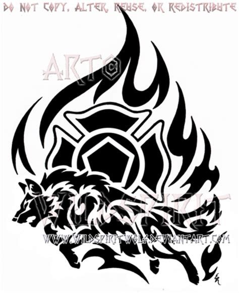 firefighter tribal tattoos firefighter tribal wolf design by wildspiritwolf on