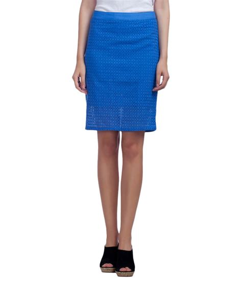 buy redesign blue cotton pencil skirt at best