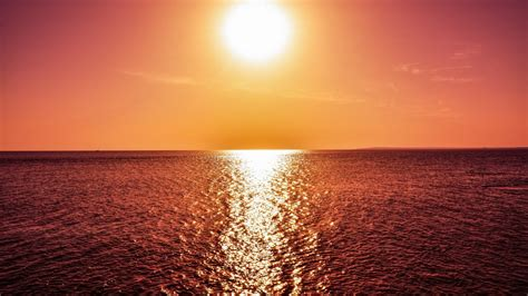 wallpaper sunset reflections horizon sea hd