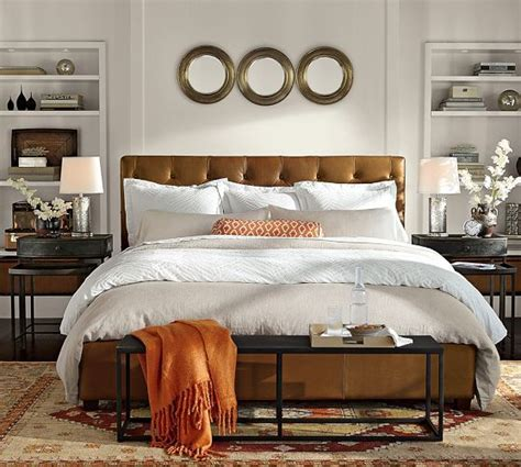 brown leather bed bedroom ideas lorraine tufted leather bed headboard with iron side