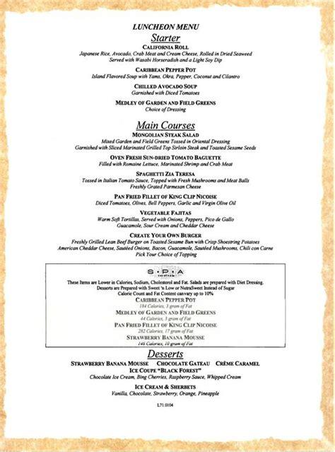 carnival cruises lunch menu 1 carnival cruises dining menus
