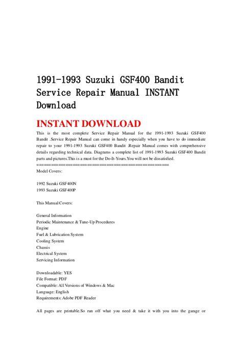 service manuals schematics 1993 suzuki sj auto manual 1991 1993 suzuki gsf400 bandit service repair manual instant download