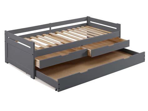 meuble rangement bureau 3394 lit gigogne en bois 90x190 cm avec 1 sommier 224 lattes et 3 t