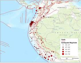 america fault lines map ecuador peru and colombia faults hint where large