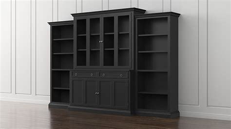 sauder black bookcase with glass doors barrister in