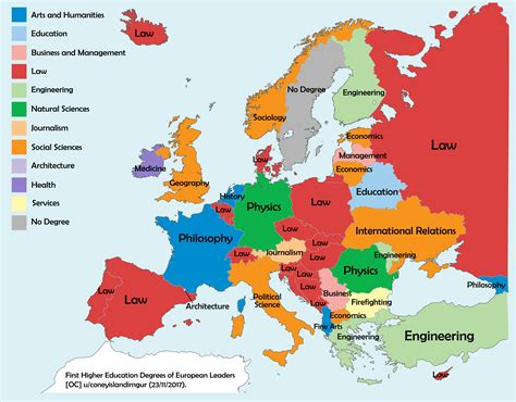 Free Mba Degree In Europe by Map Of Higher Education Degrees Of European Country