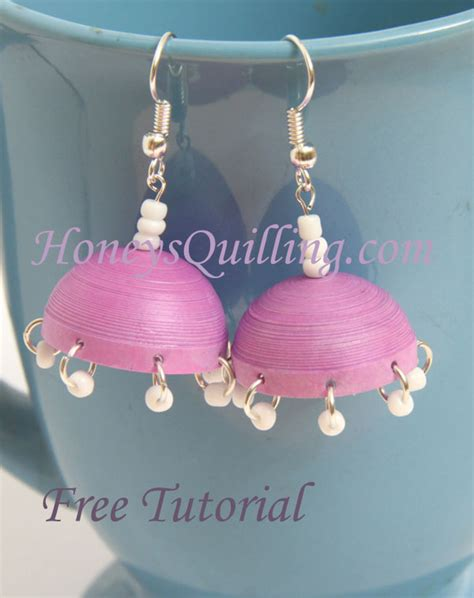 How To Make Jhumka Earrings With Paper - how to make paper quilled jhumka earrings with dangles