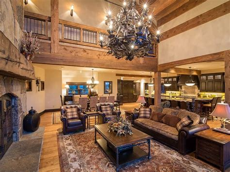 Small Chandeliers Canada Log And Stone Colorado Ski Chalet With Great Room