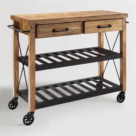 industrial kitchen cart wood and metal industrial kitchen cart world market