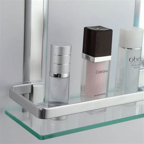 Glass Shelf With Rail For Bathroom by Kes Bathroom 2 Tier Glass Shelf With Rail Aluminum And