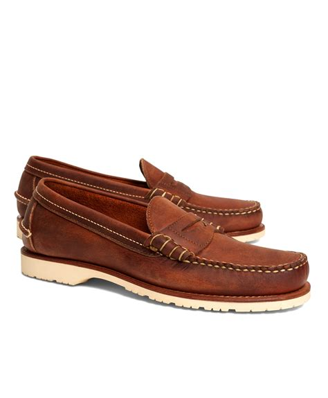 wing loafers brothers wing copper mini lug loafers in