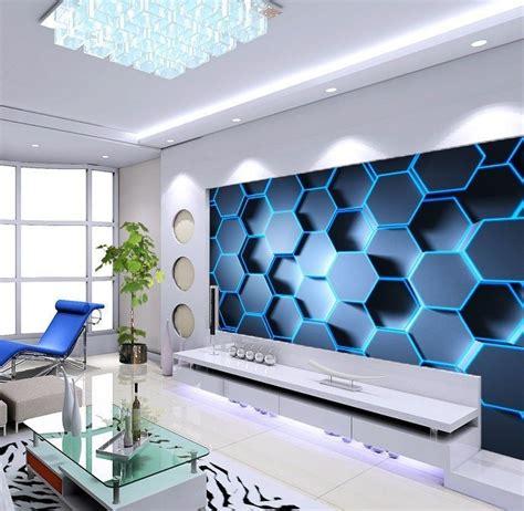 3D Blue Hexagon WallPaper Murals
