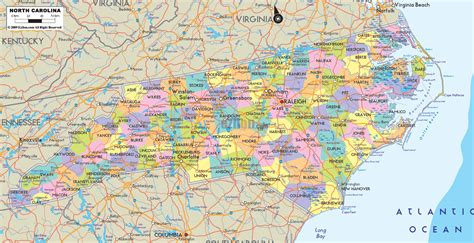carolina counties map carolina map free large images